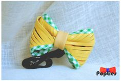 Yellow handmade fringed leather bow tie UNISEX by Popties on Etsy, €20.00