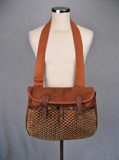 1950 S Vtg Fishing Bag Brady Canvas Leather Shoulder Satchel