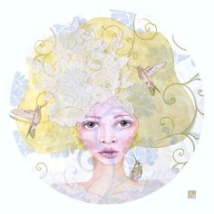 Nature's Bride - Art print of mixed media painting by Helen Platania by HelenPlataniaArt on Etsy