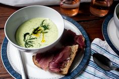 Cucumber Avocado Summer Soup with Prosciutto Toast
