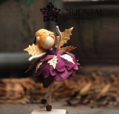 Doll for Mom Purple Flower Doll Golden Leaf Wings Purple Flower Fairies, Flower Petals, Felt Fairy, Clothespin Dolls, Angel Ornaments, Little Doll, Fairy Dolls, Biscuit, Purple Flowers