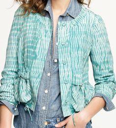 J CREW Collection 100% Silk Mirage Jacket Tie-Dyed $298 Cropped Blazer Green 0 #JCrew #BasicJacket