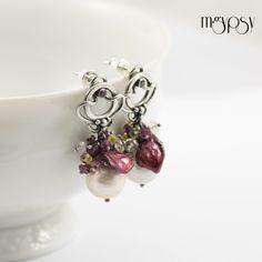 Cherry & Vanilla - Pearls, Sapphire,  Quartz, Rhodolite & Sterling Silver