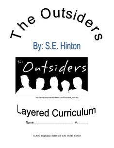 THE OUTSIDERS NOVEL STUDY LITERATURE GUIDE FLIP BOOK