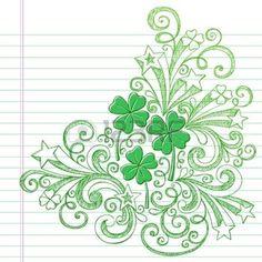 four leaf clover: Four Leaf Clover St Patricks Day Sketchy Doodle Shamrocks Back to School Style Sketchy Notebook Doodles Illustration Design Elements on Lined Sketchbook Paper Background