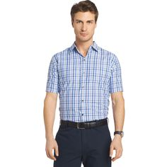 Men's Van Heusen Air Wovens Classic-Fit Poplin Performance Button-Down Shirt, Size: Large, Blue (Navy)