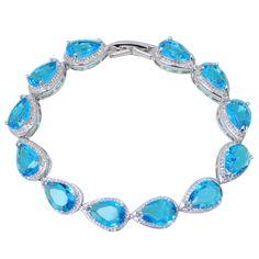 Ocean Melody Silver Plated Blue Cubic Zirconia Bracelet