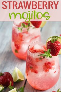mint drink Strawberry Mojitos prepared with fresh strawberries, mint leaves, lime juice, club soda, rum and simple syrup. Refreshing Drinks, Fun Drinks, Yummy Drinks, Drinks With Rum, Club Soda Drinks, Summer Rum Drinks, Fruity Mixed Drinks, Fruity Alcohol Drinks, Easy Mixed Drinks
