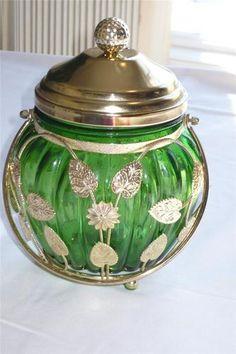 Vintage Japan Musical Green Glass Gold Leaf Vines Guilt Biscuit Jar Candy Dish | eBay