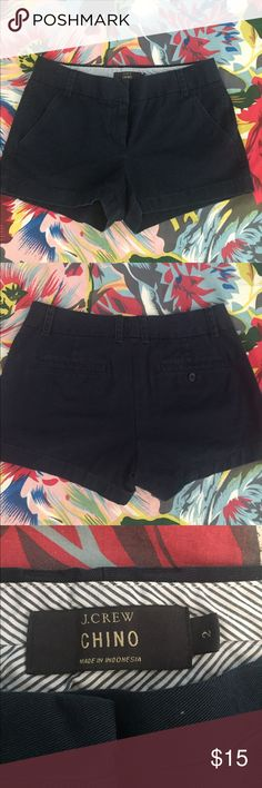 """J. Crew 3"""" Chino Shorts Navy blue, size 2, excellent pre-owned condition. Sorry, no trades. J. Crew Shorts"""