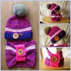 Pretty Winter Hat and Cowl Set Pink Purple by WarmingHeartsCrochet