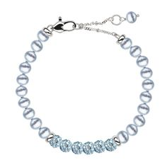 "Honora ""Little Girls"" Blue Freshwater Cultured Pearl ""Pop Star"" Bracelet Available Immediately. Perfect flower girl or communion gift. Style LB5803WH"