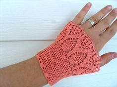 Deep Peach Victorian Style  Crocheted Lace Gloves