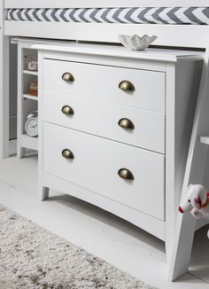 Children's chest of Drawers, designed to match our Cabin Bed Range, fits under our Midsleeper Cabin Beds Mid Sleeper Cabin Bed, High Sleeper Bed, Cabin Beds, Chest Of Drawers Design, Chest Drawers, Cabin Bed With Desk, White Cabin, Wood Chest, Traditional Bedroom