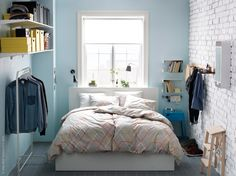 IKEA MALM ottoman bed Under the slatted base, which can be lifted, hides a practical storage space. Ikea 2015, Algot Ikea, Ikea Malm, Small Bedroom Storage, Bed Storage, Clothes Storage, Easy Storage, Narrow Bedroom, Storage Rack