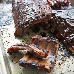 Recipes | Slow Cooker Ribs with Sticky Chile and Cherry Sauce | Sur La Table All Clad Slow Cooker, Slow Cooker Ribs, Slow Cooker Recipes, Crockpot Recipes, Cooking Recipes, Cherry Sauce Recipe, Baby Back Pork Ribs, Ribs On Grill, Bean Recipes