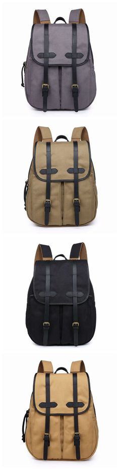 Handmade Canvas Leather Travel Backpack School Backpack Laptop Backpack