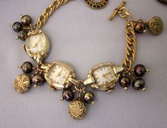 Repurposed Gold Watch Bracelet Pearls Antique by jryendesigns, $79.00