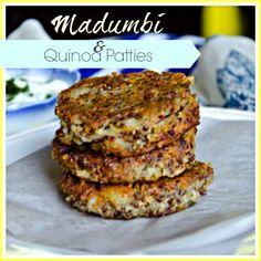Madumbi (African potato) and Quinoa patties - vegetarian, gluten free and protein rich Vegetarian Options, Vegetarian Recipes, Healthy Recipes, Healthy Foods, Potato Fritters, Gluten Free Recipes, Quinoa, Yummy Food, Tasty