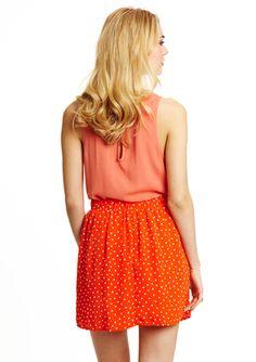 EVERLY High-Waist Polka Dot A-Line Skirt