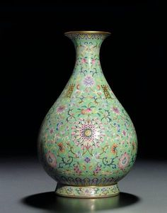 A very rare lime-green-ground famille rose bottle vase, yuhuchunping, Jiaqing iron-red six-character seal mark and of the period