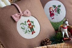 ornament + snowglobe christmas pillows