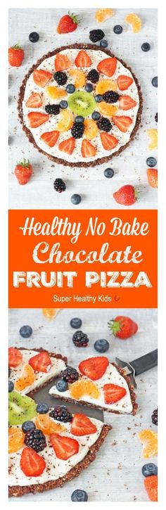 Healthy No Bake Fruit Pizza. A fantastic gluten and grain free dessert for the whole family! http://www.superhealthykids.com/healthy-no-bake-chocolate-fruit-pizza/