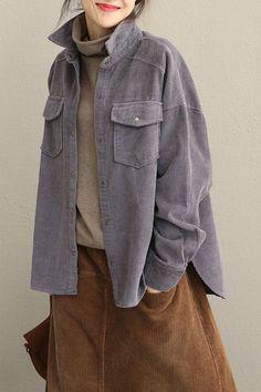 Vintage Pink and Gray Loose Corduroy Short Coat For Women Grey Fashion, Minimal Fashion, Korean Fashion, Fashion Outfits, Womens Fashion, Barett Outfit, Vintage Pink, Grey Pants Outfit, White Linen Skirt