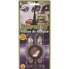 Kit Maquillage Vampire avec Dents Phosphorescentes, bal des Vampires, Halloween, fêtes.