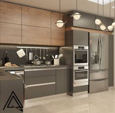 The almond composition and the wood pattern have found a lot of what you like and what color combination . - Design Cointrend News Kitchen Room Design, Luxury Kitchen Design, Modern Kitchen Cabinets, Contemporary Kitchen Design, Kitchen Cabinet Design, Home Decor Kitchen, Interior Design Kitchen, Home Kitchens, Kitchen Colors