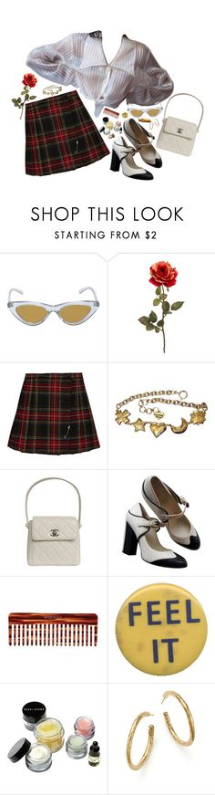 """""""feel it"""" by notacowboy ❤ liked on Polyvore featuring Le Specs, Yves Saint Laurent, Moschino, Chanel, Mason Pearson, Bobbi Brown Cosmetics, Ippolita and Cathy Waterman"""