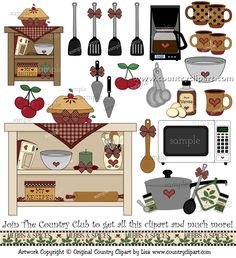 Clipart for Digital Printables and Crafts The Country Club Scrapbook Recipe Book, Kitchen Art Prints, Kitchen Drawing, Paper Dolls Printable, Vintage Paper Dolls, Drawing For Kids, Recipe Cards, Patch, Sewing Crafts