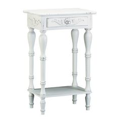 White Carved Side Table