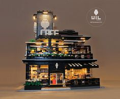 """LEGO Modular MOC - UiL Cafe """"Mingle with the night""""   Flickr"""