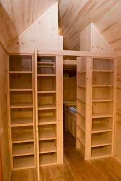 Storage with adjustable shelving by Tumbleweed Tiny House Company, via Flickr