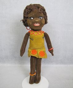 Norah Wellings Cloth Doll GLASS Eyes Black Islander All Original