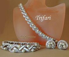 Trifari Vintage Jewelry Set Pearls Swarvoski Crystal Rhinestones Bridal.