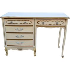 ---SOLD---Vintage Shabby Chic French Desk/ Vanity White with Gold Trim