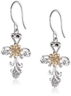 Precious Moments 2-Tone Sterling Silver Cross with Flower Design Drop Earrings ** You can find out more details at the link of the image.