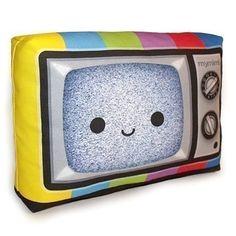 Decorative Pillow, Mini Pillow, Throw Pillow, Classic Vintage Retro Toy Pillow, Eco-Friendly Printed on Cotton Fabric - Happy Color TV. $18.00, via Etsy.