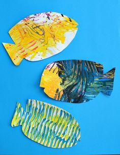 ocean activities Fork Painted Fish-Art for Kids Sea Activities, Painting Activities, Preschool Activities, Sea Crafts, Fish Crafts, Toddler Art, Toddler Crafts, Graffiti, Summer Crafts For Kids