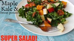 Maple, sweet potato, and kale salad recipe. Hearty and filling, with the right amount of sweetness and crunch.