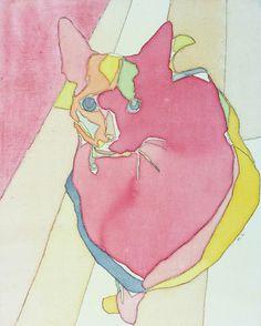 イラスト画「ネコNo,4(赤いネコ)」[M.h] | ART-Meter