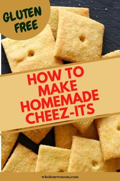 Homemade Cheez Its Crackers Made Healthier! With this grain Healthy Crackers, Yummy Healthy Snacks, Healthy Meals For Kids, Easy Snacks, Low Carb Recipes, Real Food Recipes, Vegan Recipes, Snack Recipes, Cheez It Recipe