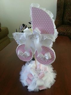 Pink And White Baby Carriage Centerpiece / by TheCarriageShoppe