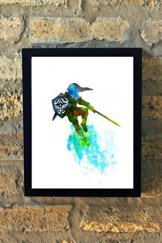 Link Legend of Zelda Watercolor Print Black and by TheGnakedGnome