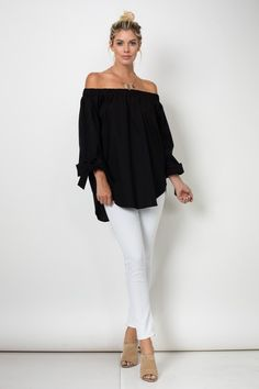 Must Have off the Shoulder Top with Tie