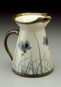 Sam Scott Pottery, Pitcher with brushwork, Porcelain, 9 in. tall.