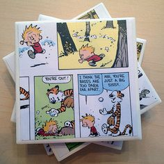 Calvin and Hobbes Upcycled Comic Strip Ceramic Drink Coaster Set of 4