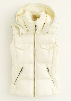 ++ beige hooded cotton blend vest